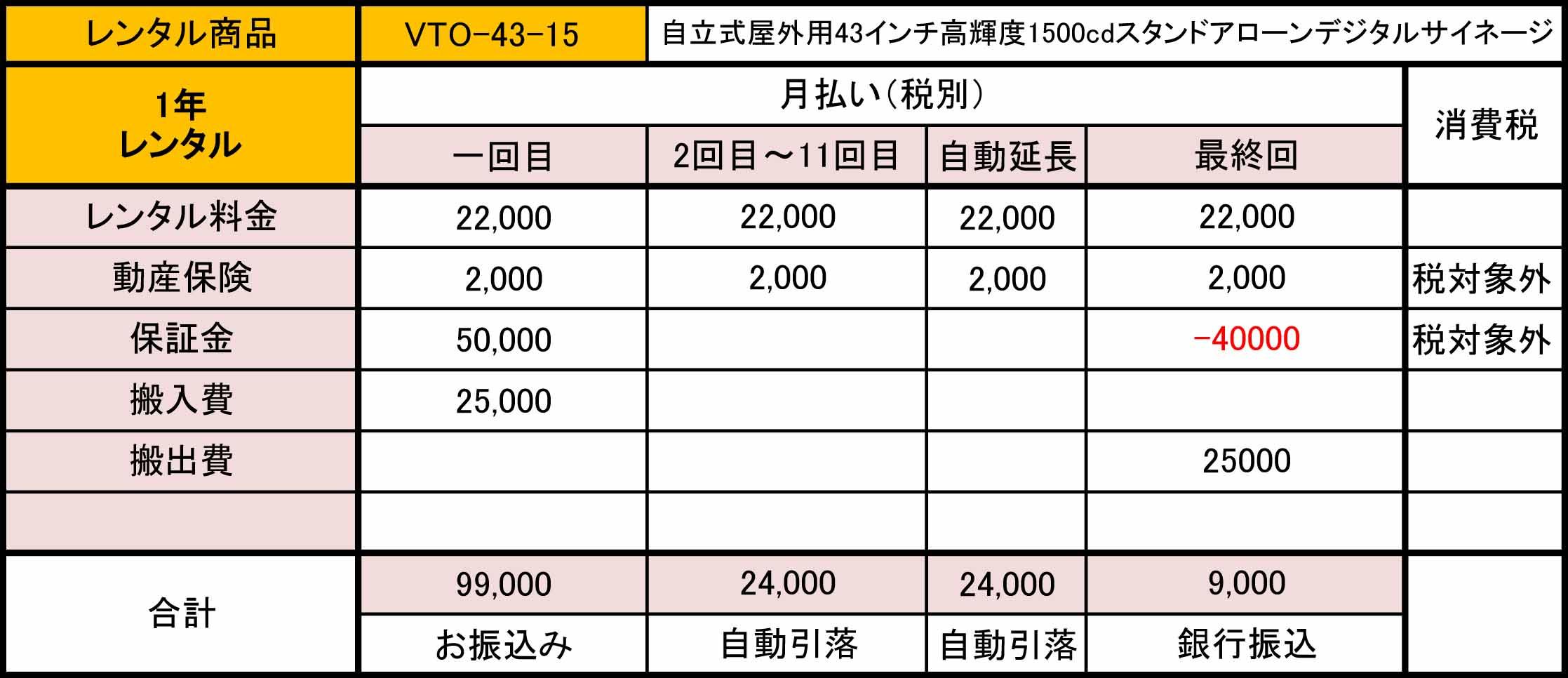 VTO-43-15 1年レンタル価格表
